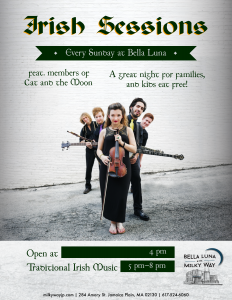Irish Sessions feat. members of Cat and the Moon @ Bella Luna Restaurant & Milky Way Lounge